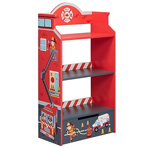Fantasy Fields Little Fire Fighters Themed Kids Wooden Bookcase with Storage (Storage Story Toy)