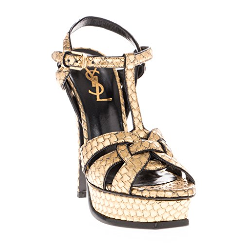 Saint Laurent Women's Metallic Python-Stamped Tribute Platform Sandals Leather Gold 35 M EU (Yves St Laurent Shoes)