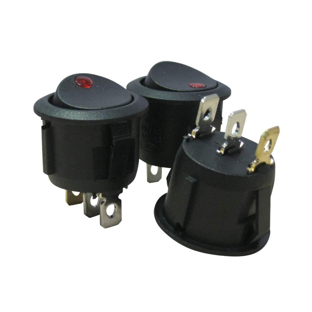 Taiss 10Pcs AC 250V 6A 125V 10A rotes Licht beleuchtet EIN//AUS SPST 3 Pin 2 Position Mini Boot Wippschalter Auto Auto Boot Wippschalter Snap(Qualit/ätssicherung f/ür 1 Jahre) KCD1-5-101EN-R