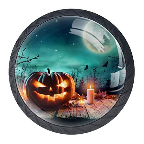 Halloween Pumpkin Bat Candle Glass 30mm Cabinet Knobs,4 Pack Drawer Door Pulls for Kitchen Bathroom Home Furniture Living Room ()
