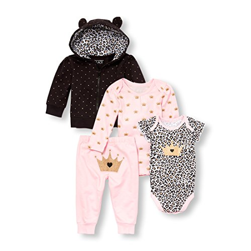 The Children's Place Baby Girls Animal Print Princess Hoodie Bodysuits and Pants 4-Piece Playwear Set, Black/1, 18-24MONTH