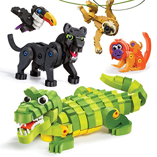 - Bloco Toys Tropical Rainforest Animals | STEM Toy | Panther, Caiman, Sloth, Tamarin & Toucan | DIY Educational Building Construction Set (220 Pieces)