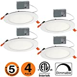 OOOLED 6 inch Slim Downlight Dimmable 12W (=100W) Led Downlight 900LM 4000K Naturallight White cETLus Listed Recessed Trim,LED Ceiling Light Fixture 4 Pack(SE)4000K