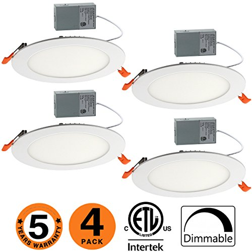 Slim Led Downlight Dimmable 6 Inch 12W (=100W) 950LM 5000K Daylight White ETL Listed Recessed Trim Ceiling Light Fixture 4 Pack-50K