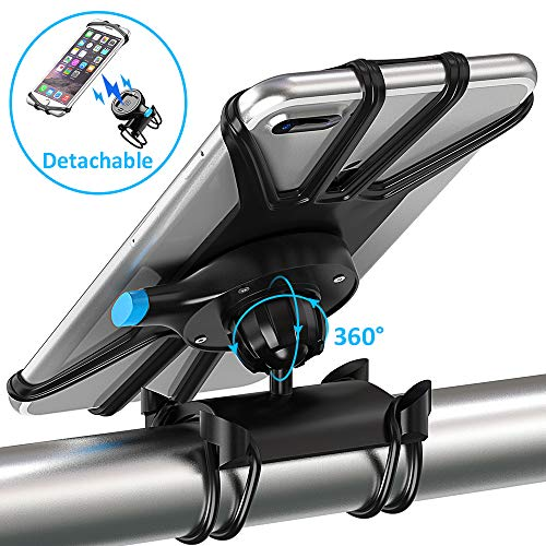Bike Phone Mount, Pobon One Key Attach/Detach 360° Rotate Bicycle Rack Phone Holder & Motorcycle Handlebar Cradle for iPhone Xs Max/XS/XR/X/8/7/6 Plus, Samsung Galaxy S9/S8 Plus Note 8/9, 4.7-6.5