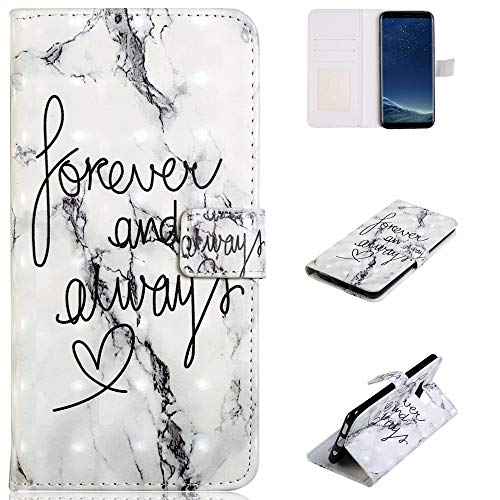 Price comparison product image Ostop Samsung Galaxy S8 Case, White Marble Design PU Leather Wallet Phone Case, Card Holder Purse with Kickstand Function Full Body Drop Protection Cover for Men Women, Forever Quotes