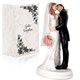 Wedding Cake Topper Funny & Romantic Groom And Bride kissing with flowers Figurine