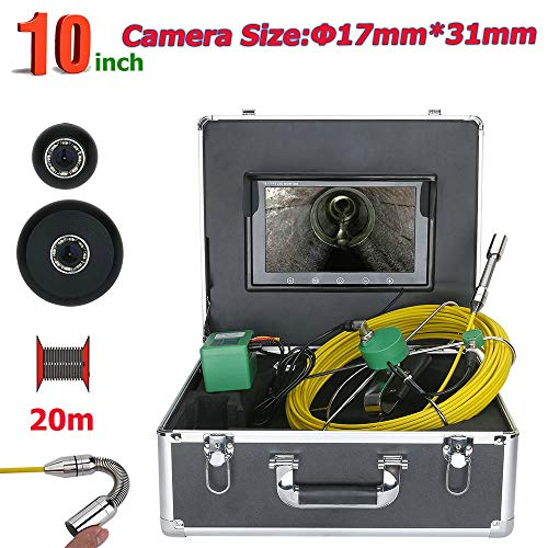 (HONGSHENG 20M 10 Inch Industrial Pipe Sewer Inspection Video 17MM IP68 Waterproof Drain Pipe Sewer Inspection Camera System with 8 Pcs LED Lights)