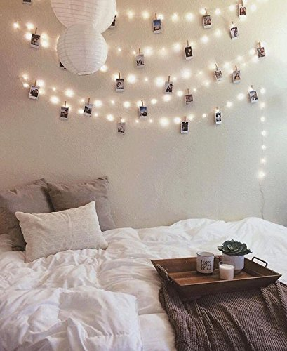 Photo clip lights: 20 LED silver and clear photo string lights, warm white, battery operated, hanging photos, polaroids, artwork, cards. Cute room decor, fairy lights.