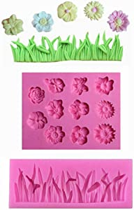 Pack of 2 Cake Decoration Molds, Grass Shape Silicone Mold and Flower Mold for Fondant Candy Chocolate Making and DIY Gummy Sugar Crafts