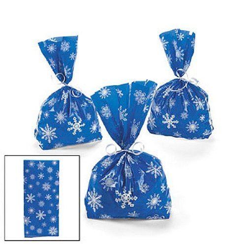 (72 Blue SNOWFLAKE Cellophane GOODY Bags 6 DOZEN - WINTER/Christmas HOLIDAY/CELLO Bags/Favors/CANDY/SWEETS by FX)