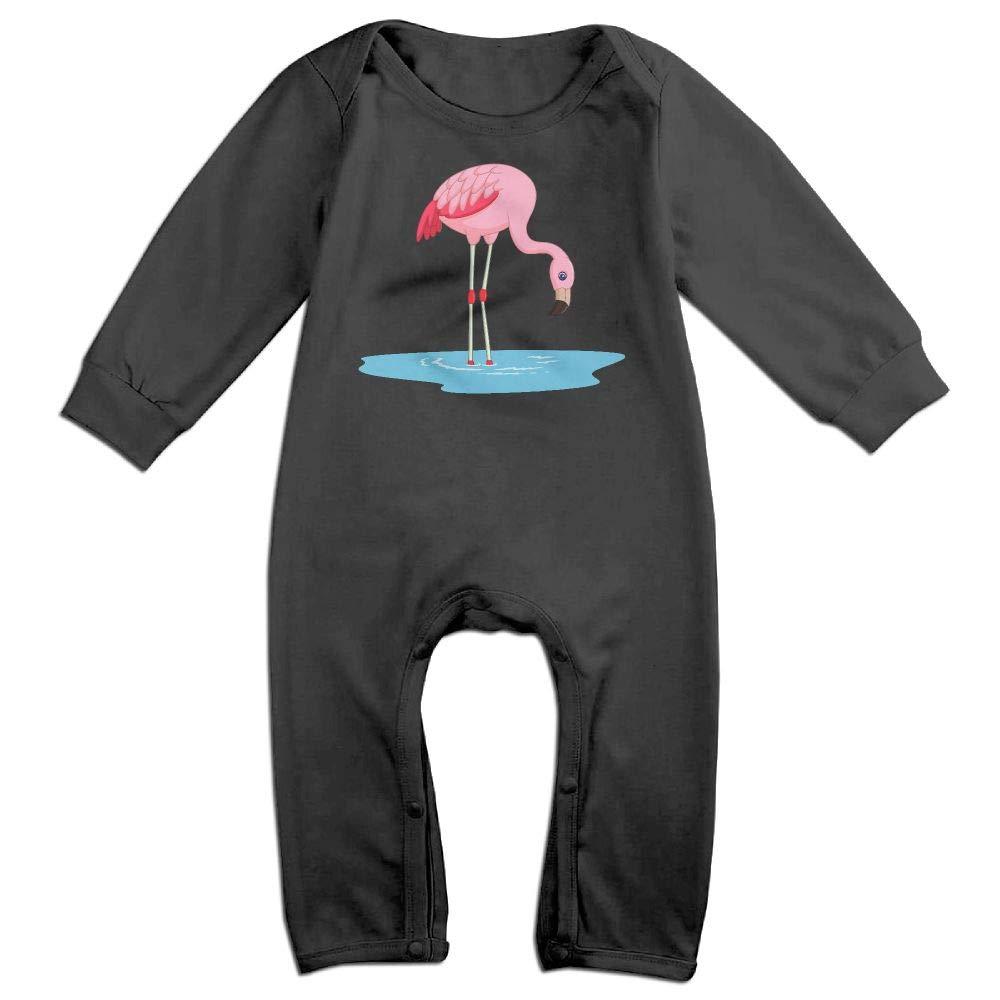 Cute Cartoon Flamingo Long Sleeve Infant Baby Bodysuit for 6-24 Months Bodysuit