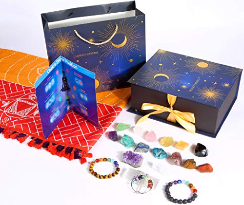 Cherish Crystal Chakra Stones Healing Crystals Set. with 15x Crystals and Healing Stones, 1x Gemstones Box, 2X Chakra…