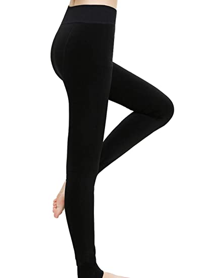 9302385c3 Romastory Women s Winter Warm Fleece Lined Tights High Waisted Elastic  Leggings Pants (Black)