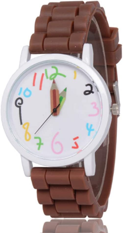 chtdz 1 PCS Cartoon Bleistift Kinder Kinder Uhren Sport Quarz Silikon Armband M/ädchen Jungen Kleid Uhr Purple