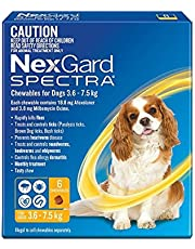 Nexgard Spectra - Flea, Tick and Worming Monthly Chew for 3.6-7.5kg Dog, 6 Pack