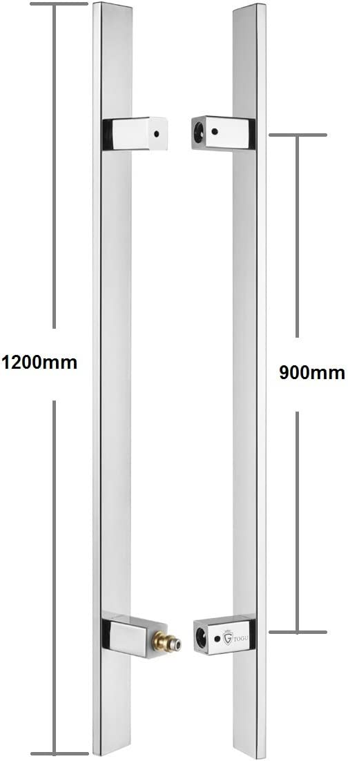 TOGU TG-6018 1200mm/48 inches Square/Rectangle H-Shape/Ladder Style Back to Back Stainless Steel Push Pull Door Handle for Solid Wood, Timber, Glass and Steel Doors, Mirror-Polished Chrome Finish 51xQN0-2BnkL