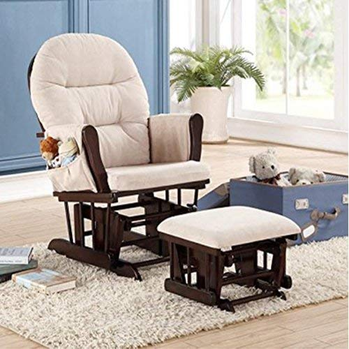 (Naomi Home Brisbane Glider & Ottoman Set Espresso/Cream)