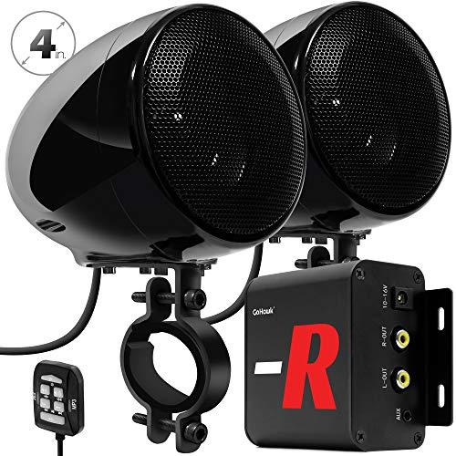 GoHawk TN4-R Amplifier 4' Full Range Waterproof Bluetooth Motorcycle Stereo Speakers 1 to 1.5 in. Handlebar Mount Audio Amp System Harley Touring Cruiser ATV UTV RZR, AUX, FM Radio (TN4-R Black)