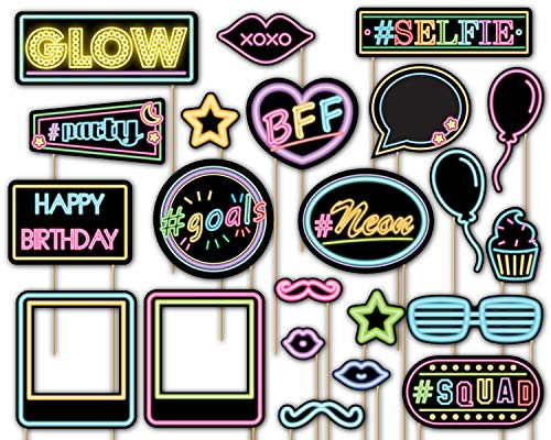 Birthday Galore Glow Light Neon Photo Booth Props Kit - 20 Pack Party Camera Props Fully Assembled ()