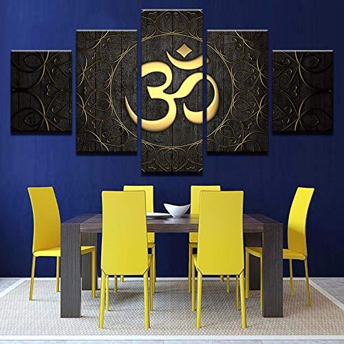 xzfddn 5 Piezas de Buda OM Yoga Poster HD Imprimir Golden ...