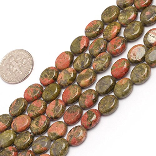 - 8x10mm Oval Gemstone Unakite Beads Strand 15 Inch Jewelry Making Beads