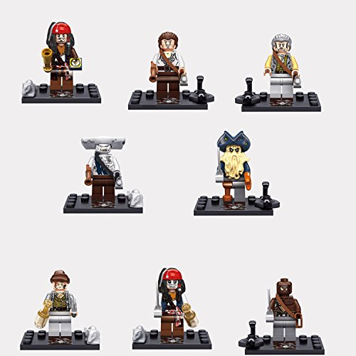8pcs/set Pirates of the Caribbean Captain Jack Sparrow Mini Figure Building Blocks Bricks Baby Enlighten Educational Model Toys (Minecraft Halloween Spawn)