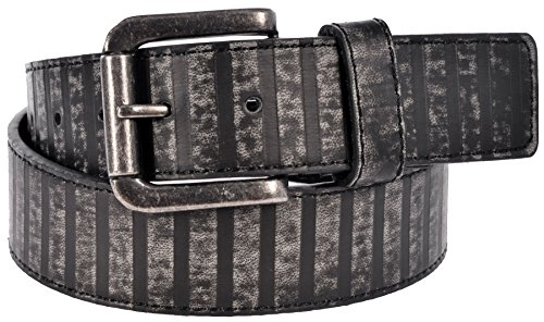 Sunny Belt Unisex Vintage Distressed Dark Stripes Faux Leather Belt Grey Tones Large