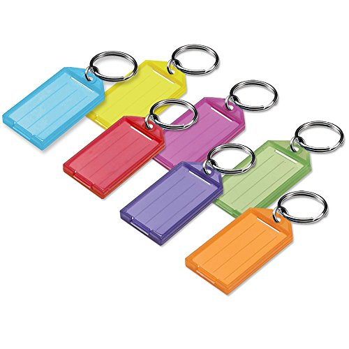 Lucky Line Key Tag with Flap and Split Ring, Assorted Colors, 25 Pack - Line Tags Key Lucky