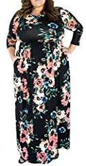 Delcoce Women's Ladies Semi See-through 3/4 Sleeve Round Neck Flower Floral Print Emipre Waist Elastic Stretch Floor-Length Long Maxi Party Dresses Plus Size Dress with Pockets S-XL Note:Semi See-through Style: Maxy Dress Length: Floor Length...