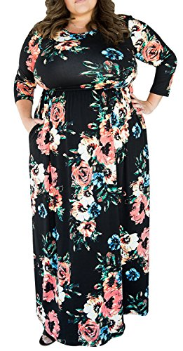 [Empire Waist Flower Floor-Length Sleeve Pocket Floral Maxi Dresses Plus Size 3XL] (Plus Size Maxi Dresses)