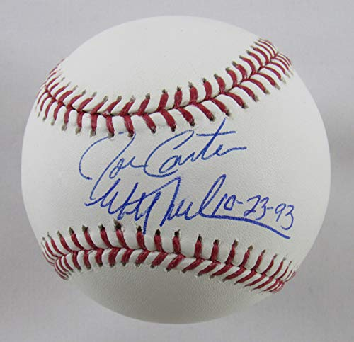 Joe Carter Mitch Williams Signed Auto Autograph Rawlings Baseball w/ 1993 World Series Inscription JSA -
