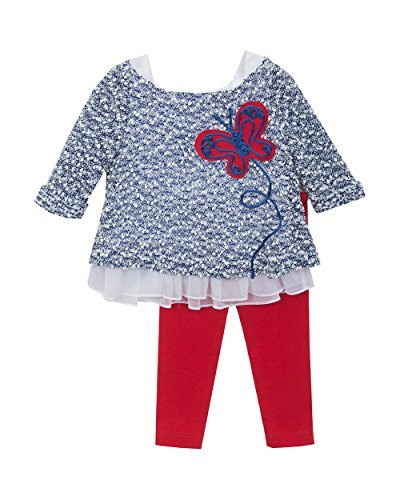Rare Editions Baby Girls' Butterfly Applique Legging Set, Blue/Red / White, 12M