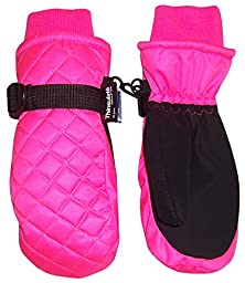 N\'Ice Caps Kids Thinsulate and Waterproof Quilted Ski Mittens (2-3yrs, Neon Pink)