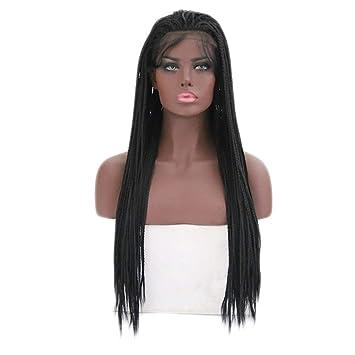 JYA SILK Peluca, Hembra Negro Moda Africano Mujer Cabello Largo Trenzas Cordón Peluquín (Tamaño : 26 inch/660.4 mm): Amazon.es: Hogar