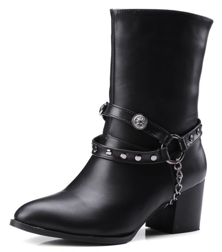 SFNLD Women's Cool Pointed Toe Mid Calf Pull On Belt Chain Studded Block Heel Boots Black 6 B(M) US