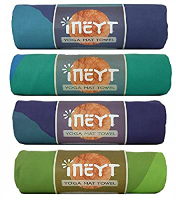 "INEYT Yoga Mat Towel - 24"" x 72"" Non Slip Towel For Hot Yoga, Bikram, Hatha, Ashtanga, Gym, Fitness - Packable Microfiber Mat Towel Sweat Absorbent, Multi Purpose Yoga Towel"