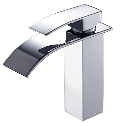 TANBURO Bathroom Faucet Single Handle Contemporary Vanity Sink Faucet  Waterfall Bathroom Lavatory Faucet With Extra Large