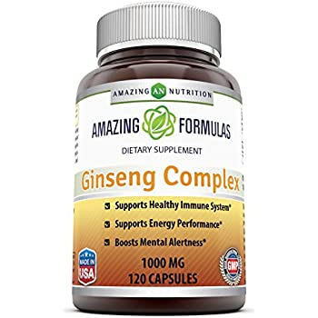 Amazing Nutrition Ginseng Complex - 1000 mg per serving, 120 Capsules Per Bottle - Supports Healthy Immune Function, Brain Health, Promotes Energy ...