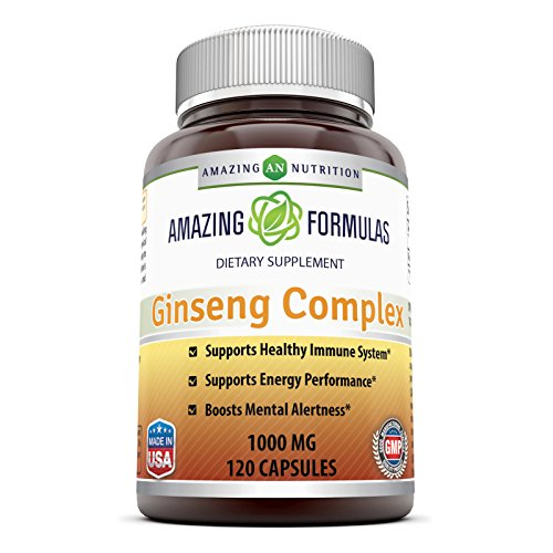 Amazing Nutrition Ginseng Complex - 1000 mg per serving, 120 Capsules Per Bottle - Supports Healthy Immune Function, Brain Health, Promotes Energy Performance and more
