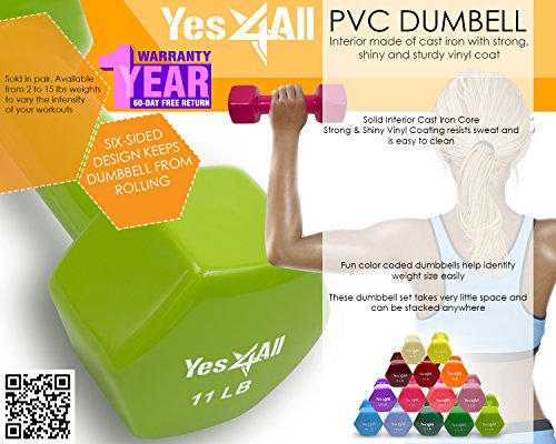 Yes4All Single PVC Coated Dumbbells, Single-13 lb