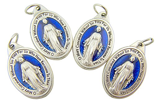 Lot of 4 Mens Womens Catholic Gift Silver Tone Royal Blue Enamel Blessed Mary Miraculous Medal Devotional Charm Pendant ()