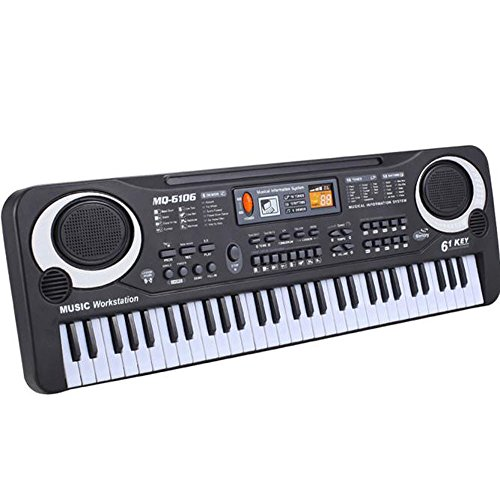 Wenini 61 Keys Electronic Keyboard Portable Digital Piano for Kids Children Early Education with Microphone, Power or Battery Supply with USB Input (Multicolor)