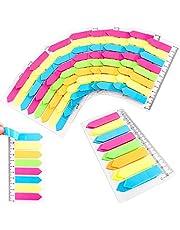 QUACOWW 1440 stuks zelfklevende notitieblaadjes, fluorescerende plakkerige notities met liniaal, vijf beschrijfbare bladwijzers