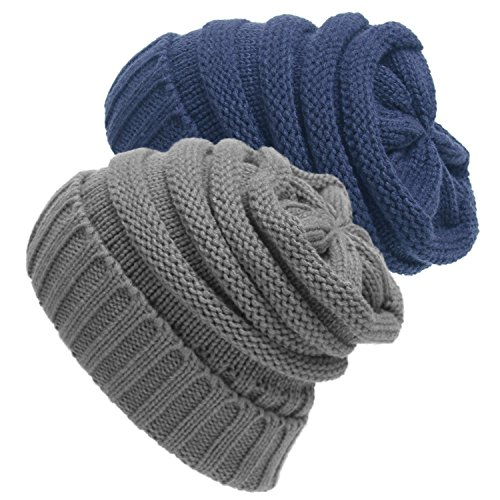 m Chunky Soft Stretch Cable Knit Slouchy Beanie Skully Hat Cap Blue/Grey (One Size Fits Most) (Blue Knit Beanie Cap Hat)