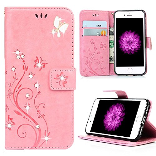 Price comparison product image iPhone 7 Flower Wallet Case, Miniko(TM) Premium PU Leather [Flower] 3D Handmade Bling Butterfly Diamond Crystal Flip [Card Slot] Wallet Case Cover for iPhone 7 with Kickstand and Wrist Strap Pink