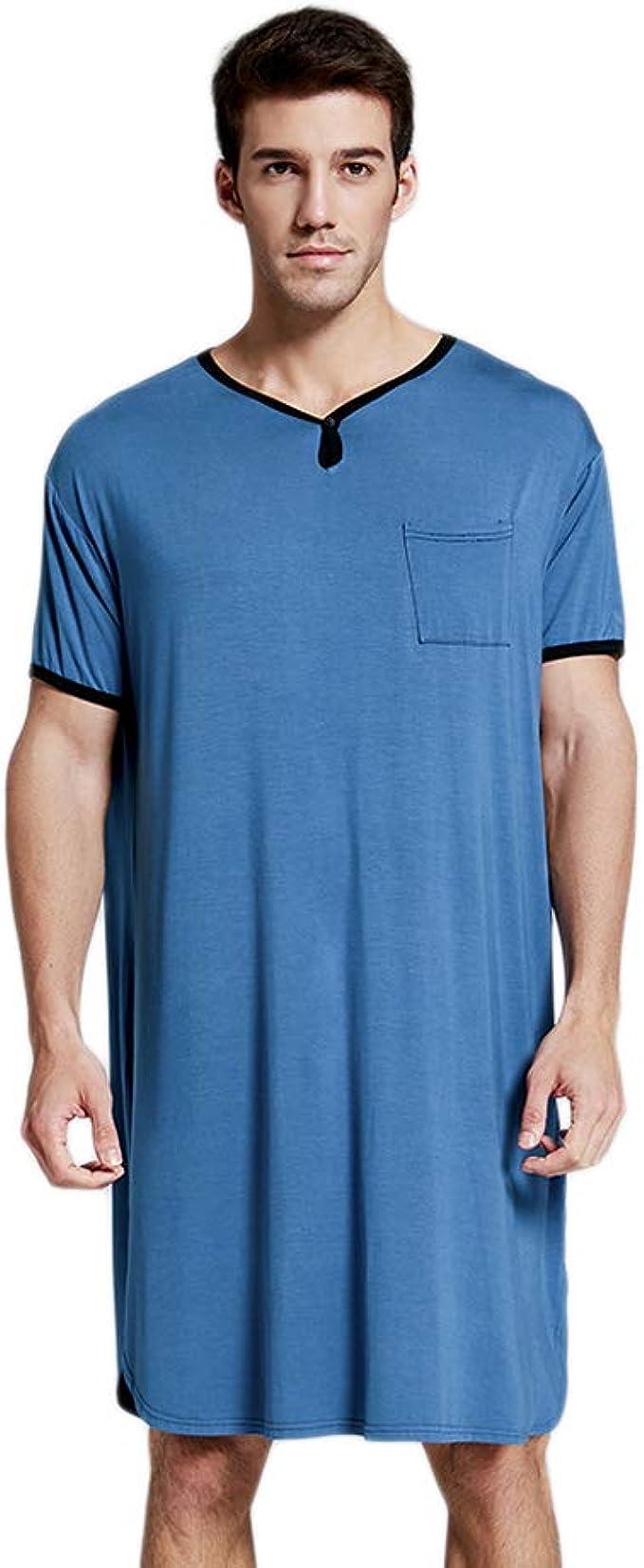 Camisa de dormir para hombre, para hombre, cómoda y suave, manga corta, cuello en V, pijama largo: Amazon.es: Ropa y accesorios