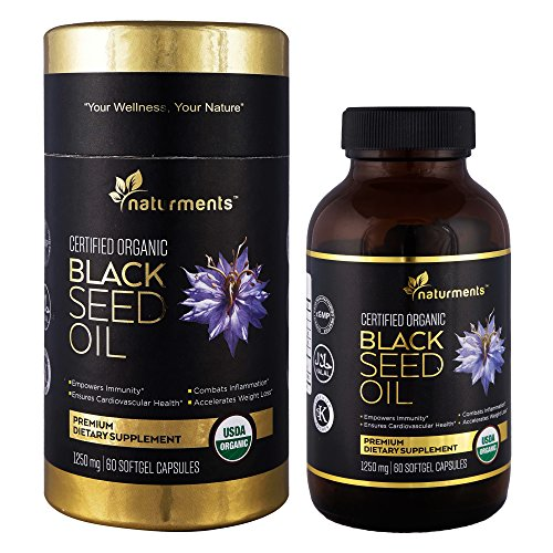 (Black Cumin Seed Oil Capsules: 1250 Mg Organic, Unrefined, Cold Pressed, Extra Virgin Nigella Sativa Premium Dietary Supplement - Pure, Non GMO, Kosher, Halal Kalonji Oil - 60 Softgels)