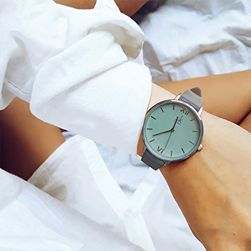 SK Women Watches Leather Band Luxury Quartz Watches Girls Ladies Wristwatch Relogio Feminino (Grey) by SK (Image #5)