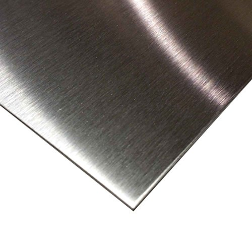 "Online Metal Supply 304 Stainless Steel Sheet .029"" (22 ga.) x 12"" x 12"" - #4 Brushed Finish"